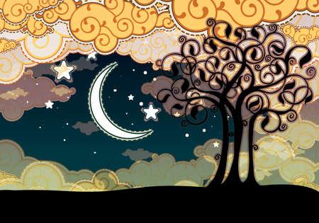 Cartoon stijl landschap met boom en maan Vector Illustratie