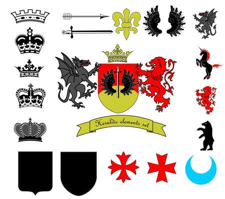 Heraldic elements set Illustration