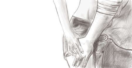 Couple holding hands close up sketch Illustration