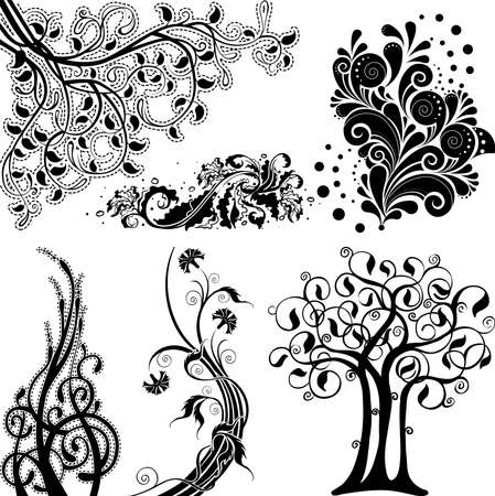adornment: Floral ornament elements set