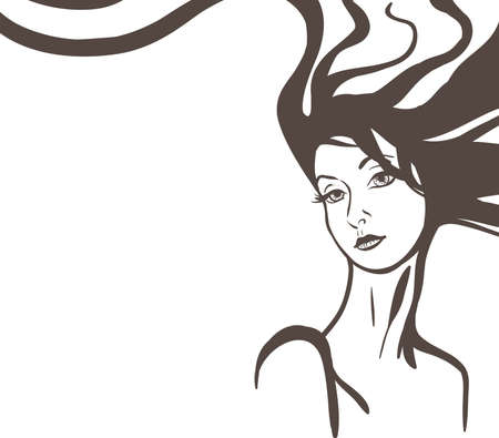 Young beautiful woman with long hair sketch Vector