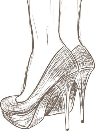 Schoenen schets Vector Illustratie