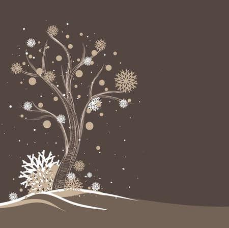 Tree and snowflakes Illustration