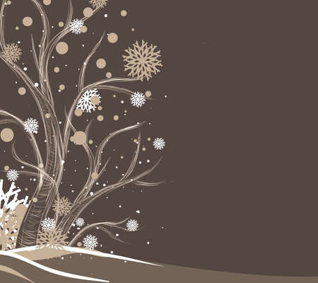 winter season: Tree and snowflakes Illustration