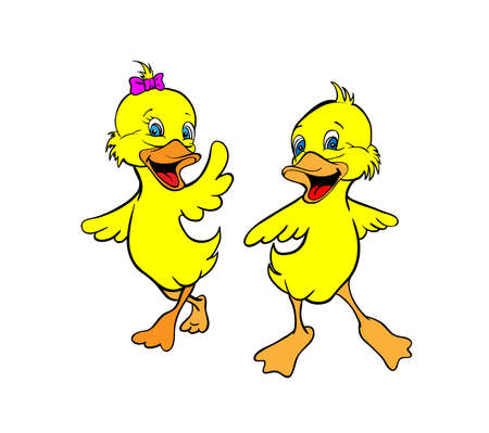 aves caricatura: Dos patitos amarillos Vectores