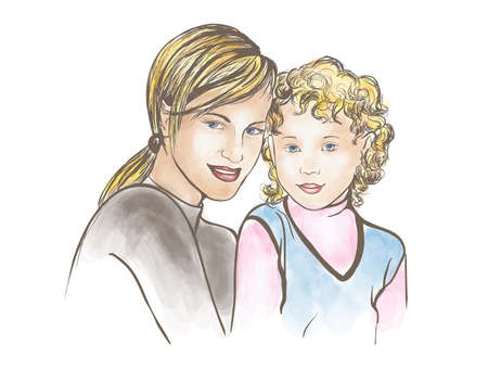 mom and son: Mother and son Illustration