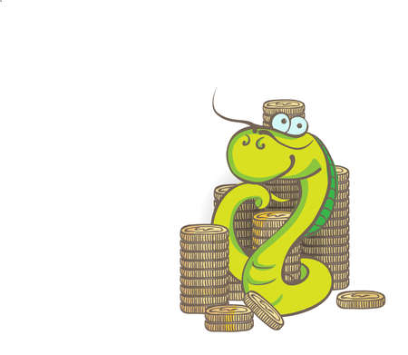 New year snake with money Vector