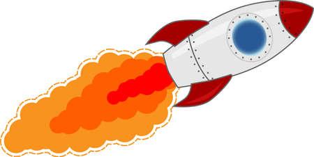 cohetes: Cartoon cohete del estilo Vectores