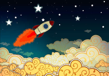 space shuttle: Cartoon rocket flying to the stars