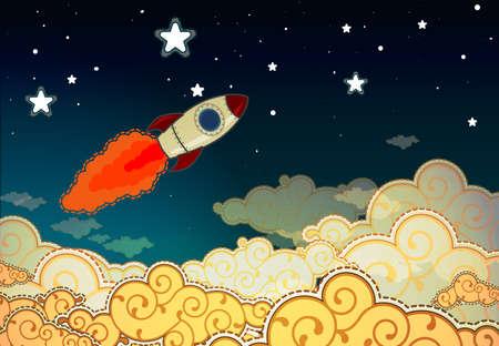 Rocket Cartoon latające do gwiazd