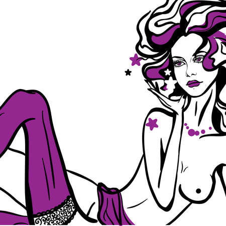 naked woman sitting: Young woman nude in purple stockings Illustration