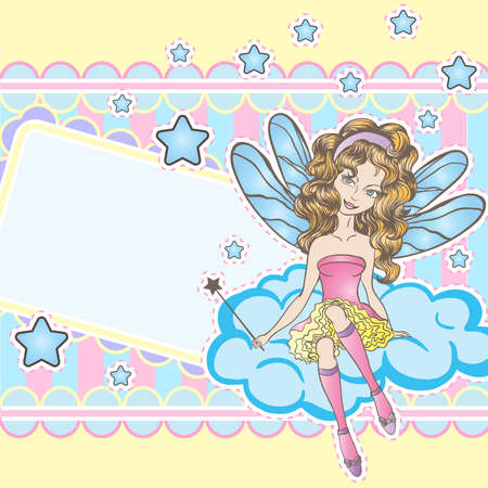 Little fairy sitting on the cloud design template Vector