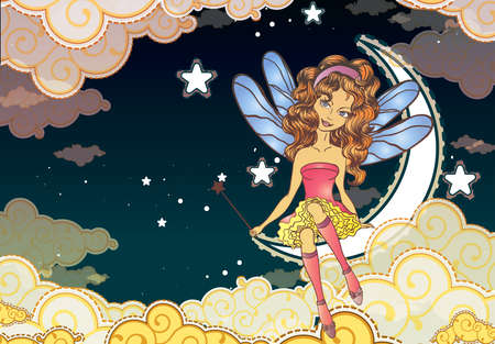 Little fairy sitting on the moon Vector