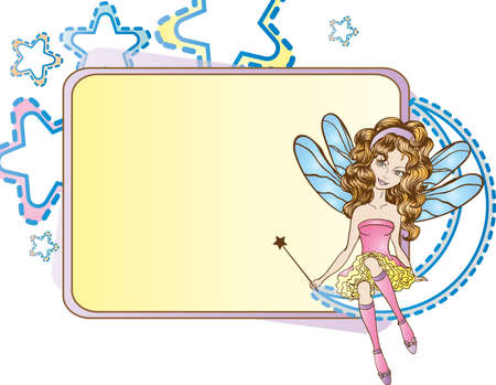 Little fairy sitting on the moon design template Vector
