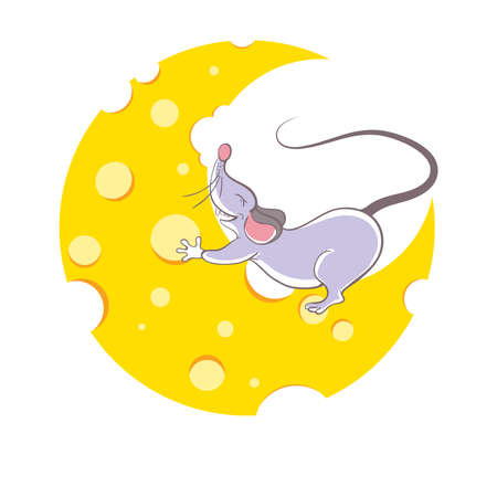 Mouse and cheese halfmoon, cartoon style Vector