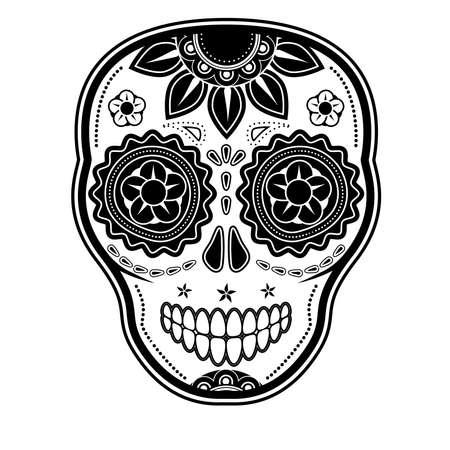 skull and flowers: D�a del cr�neo muerto del az�car Vectores