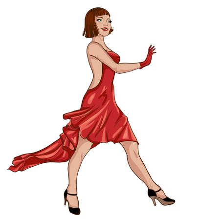 high fashion model: Mujer joven en vestido rojo caminar