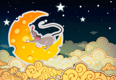 Mouse and cheese halfmoonin the sky, cartoon style Stock Vector - 15790376