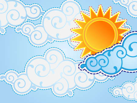 Cartoon style sun and clouds Vector
