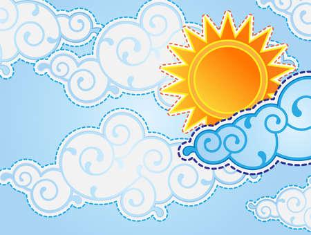 Cartoon estilo sol y nubes