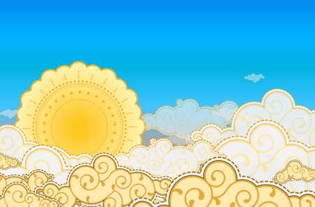 cartoon summer: Cartoon style sun and clouds
