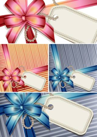 Gift bow with a blank tag set Vector