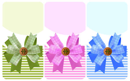 Gift bow with a button set Vector