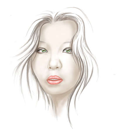 pale: Young asian woman portrait