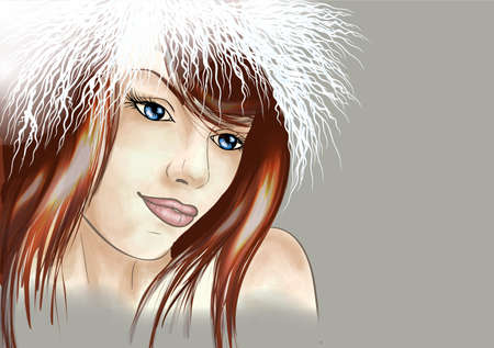 Young woman in fur hat