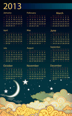 Cartoon style night sky 2013 calendar Vector