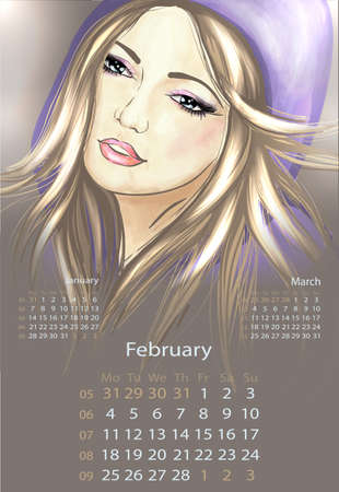 Young woman in hood february 2013 calendar Vector