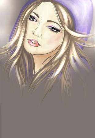 Young woman in hood Vector