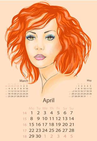 redhead woman: Bella rossa donna aprile 2013 calendario Vettoriali