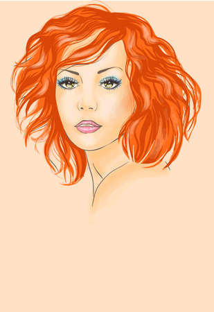 face care: Beautiful redhead woman  Illustration