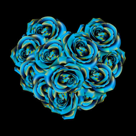 Heart made of blue roses Vector