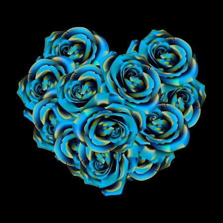 Hart van blauwe rozen