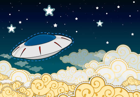 Cartoon style UFO -  flying saucer in the cloudy sky