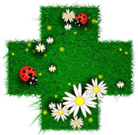 Cruce en forma de parche de hierba con flores y mariquitas photo