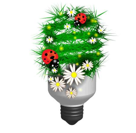 bombillo ahorrador: Lámpara ahorro de energía hecha de hierba