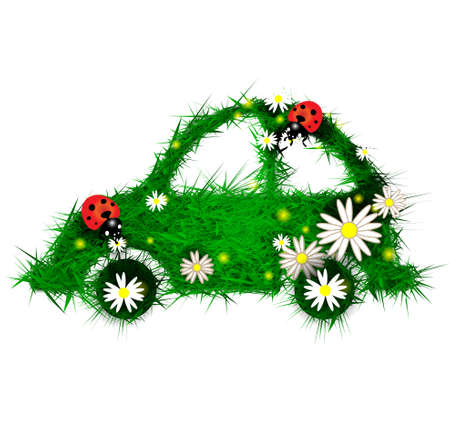 Car made of grass and flowers photo