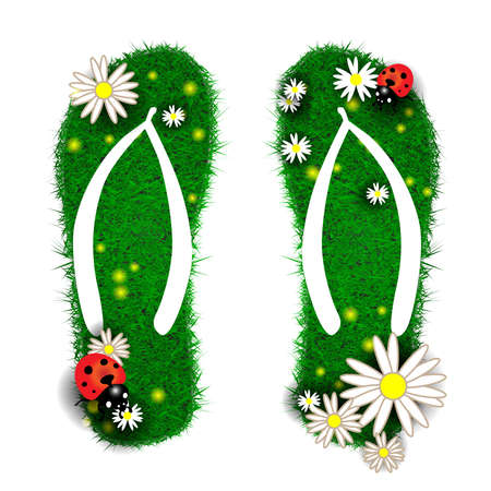 animal foot: Flip-flops made of grass Stock Photo