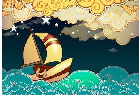 fishing vessel: Cartoon stile ship sailing in the night