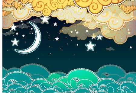sol y luna: de dibujos animados stile mar y las nubes en la noche Vectores