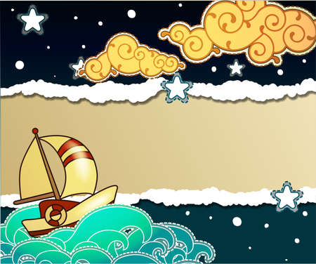 nautical vessel: Cartoon stile ship sailing in the night design template