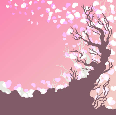 Tree with falling hearts Vector