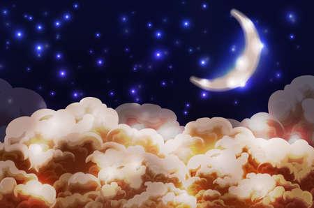 Noche estilo cartoon cielo con las nubes, las estrellas y la luna media Ilustración de vector