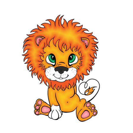 Cartoon style little lion