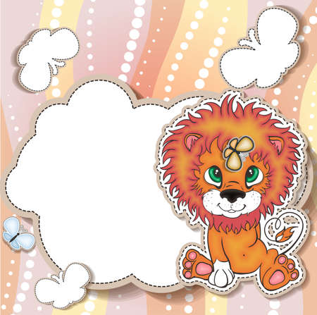 Cartoon style little lion design template Vector