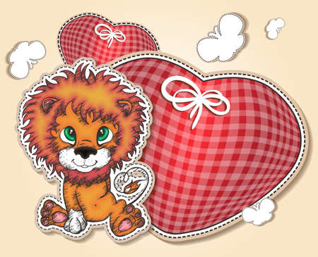 Little lion with hearts hearts photo
