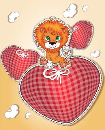 leon bebe: León pequeño con corazón corazones Vectores